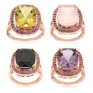Sterling Silver Rose Gold colored Multi Choice Gemstone and Amethyst Fashion Ring
