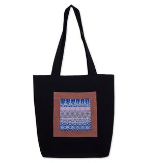 Cotton 'Chiang Mai Hyacinth in Black' Tote Handbag (Thailand)