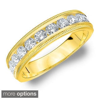 14k White or Yellow Gold 1ct TDW Milgrain Diamond Wedding Band (H-I, I1-I2)