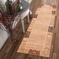 Damask Border Ivory Runner Rug (2' x 7'3)