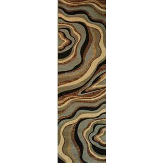 Abstract Waves Multi-swirl Blue, Green, Beige, Ivory, Black, and Brown Geometric Runner Rug (2'3 x 7'3)