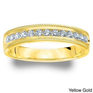 Amore 14k White or Yellow Gold 1/4ct TDW Machine-set Milgrain Diamond Wedding Band (H-I, I1-I2)
