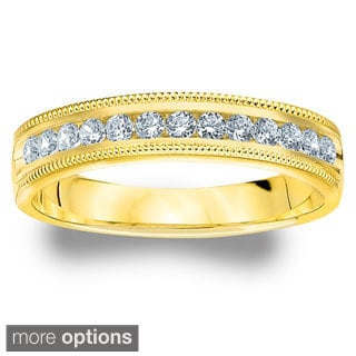 14k White or Yellow Gold 1/4ct TDW Machine-set Milgrain Diamond Wedding Band (H-I, I1-I2)