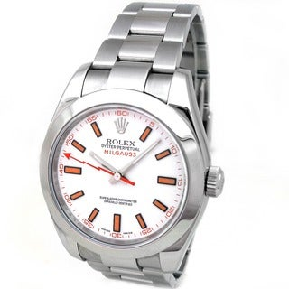 Pre-Owned Rolex Men's Stainless Steel Milgauss Watch with White Dial