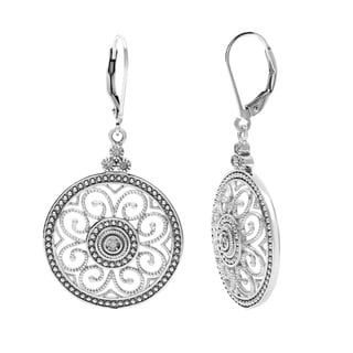 La Preciosa Sterling Silver Diamond Circle Earrings (I-J, I2-I3)
