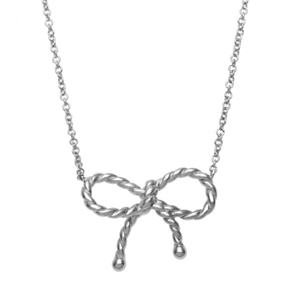 La Preciosa Sterling Silver Twisted Bow Necklace
