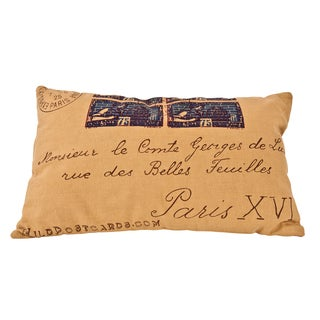 Postcard 20-inch Printed Decorative Throw Pillow