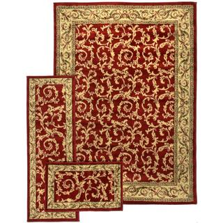 French Scrolls Red 3-piece Rug Set