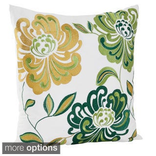 Embroidered Flower Design Cotton Decorative Throw Pillow