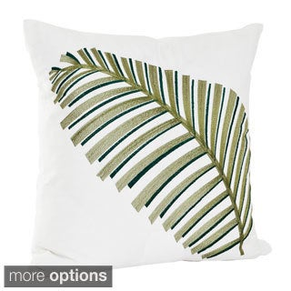 Embroidered Leaf Design Cotton Decorative Throw Pillow