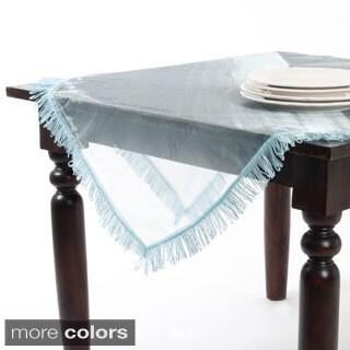 Sheer Ribbon Border Polyester Table Topper or Table Runner