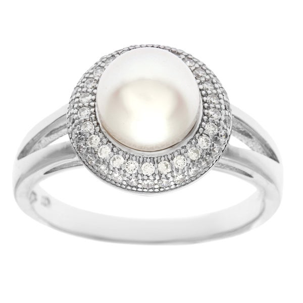 La Preciosa Sterling Silver Micro Pave CZ and Fresh Water Pearl Ring