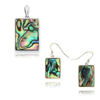 Sterling Silver Rhodium Plated Abalone Shell Pendant Necklace and Earrings Set
