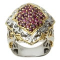 Michael Valitutti Two-tone Gold over Silver Siamese Ruby Ring