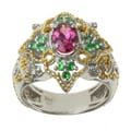 Michael Valitutti Two-tone Gold over Silver Pink Tourmaline, Tsavorite and Diamond Accent Ring
