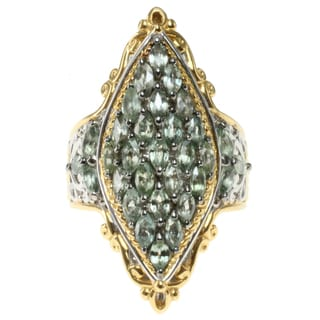 Michael Valitutti Two-tone Gold over Silver Green Sapphire Ring