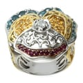"Michael Valitutti Two-tone Gold over Silver London Blue Topaz, Citrine, Ruby and White Topaz ""Pansy"" Ring"