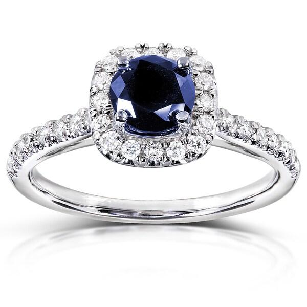 annello 14k white gold 1 4ct tdw and blue sapphire