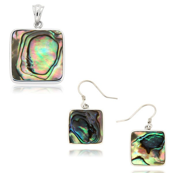 Sterling Silver Rhodium Plated Abalone Shell Necklace and Earrings Set