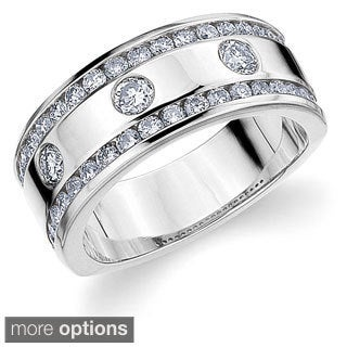 14k Yellow or White Gold 1ct TDW Machine-set Diamond Railroad Wedding Band (H-I, I1-I2)