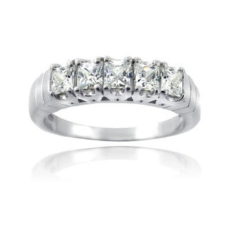 Icz Stonez Sterling Silver and Cubic Zirconia Half Eternity Ring