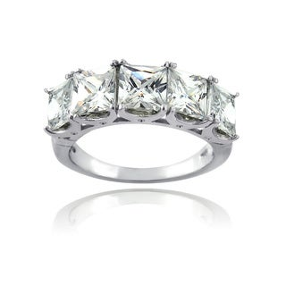 Icz Stonez Sterling Silver and Square-cut Cubic Zirconia Half Eternity Ring