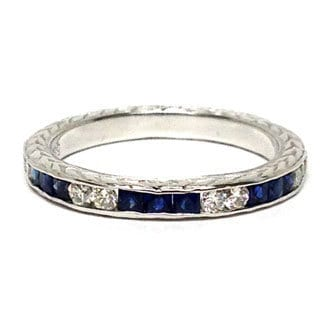 Neda Behnam Diamonds for a Cure 14k White Gold 1/5ct TDW Diamond and Blue Sapphire Ring (H-I, SI1