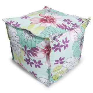 BeanSack Watercolor Floral Print Bean Bag Ottoman