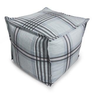 BeanSack Grey Gingham Plaid Cube Bean Bag Ottoman