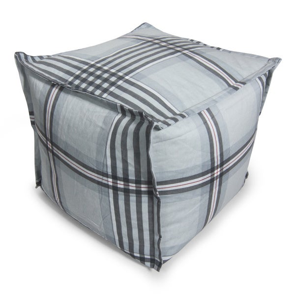 beansack grey gingham plaid cube bean bag ottoman. Black Bedroom Furniture Sets. Home Design Ideas