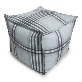 BeanSack Grey Gingham Plaid Cube Bean Bag Ottoman