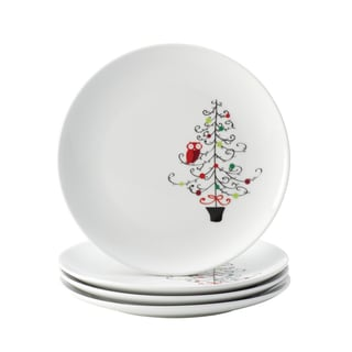 Rachael Ray Dinnerware 'Hoot's Decorated Tree' 4-piece Salad Plate Set