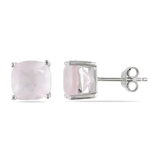 Miadora Sterling Silver 4 1/2ct TGW Rose Quartz Solitaire Earrings