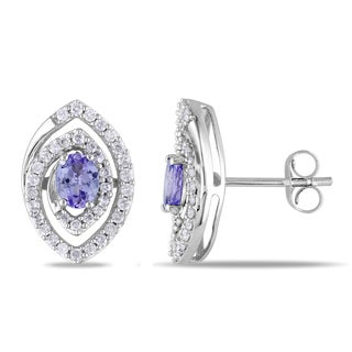 Miadora 14k White Gold 2/5ct TDW Diamond Tanzanite Earrings (G-H, I1-I2)