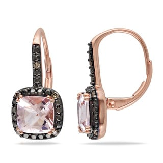Miadora 10k Rose Gold 1/10ct TDW Brown Diamond Morganite Earrings (I3)