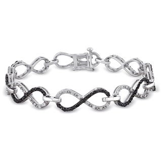 Miadora Sterling Silver 1 1/10ct TDW Black and White Diamond Infinity Bracelet (H-I, I2-I3)