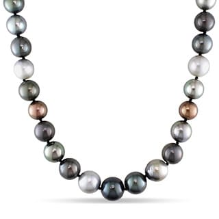 Miadora Signature Collection 14k White Gold Tahitian South Sea Pearl/ Diamond Accent Necklace (10-13 mm)