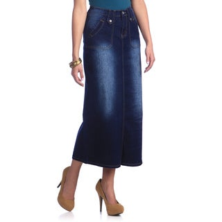 Tabeez Women's Blue Jean Long Skirt