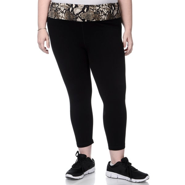 90 Degree by Reflex Women's Plus Size Snake Print Waist Yoga Capri Pants