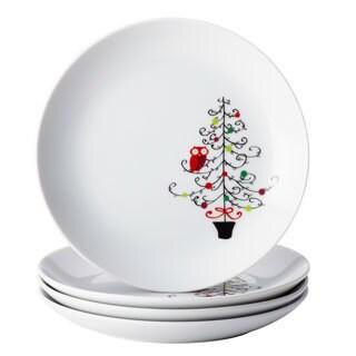 Rachael Ray Dinnerware 'Hoot's Decorated Tree' 4-piece Appetizer Plate Set