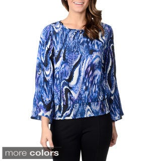 Thesis Women's Swirl Print Tab Sleeve Blouse