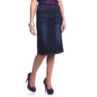 Tabeez Women's Whiskered Denim Knee Length Skirt