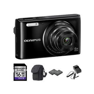 Olympus Stylus VG-180 16MP Black Digital Camera 16GB Bundle