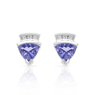 14k White Gold 1/10ct TDW Diamond and Tanzanite Earrings (H-I, SI1-SI2)