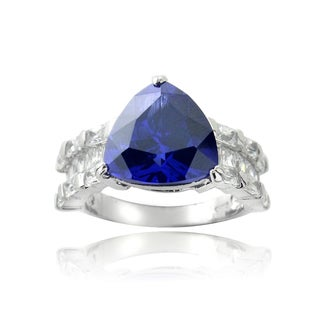 Icz Stonez Sterling Silver Blue Trillion Cubic Zirconia Solitaire Ring