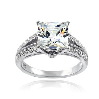 ICZ Stones Sterling Silver 5ct TGW Cubic Zirconia Bridal Engagement Ring