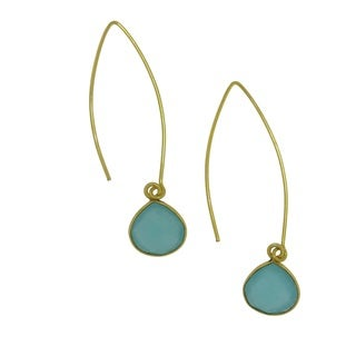 Handmade 18k Gold-plated Faceted Aqua Gemstone Beauty Earrings