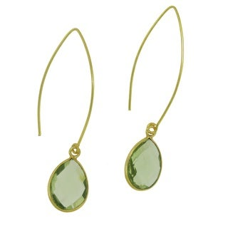 Handmade 18k Gold-plated Faceted Green Gemstone Beauty Earrings