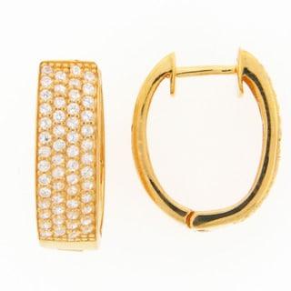 Meredith Leigh Sterling Silver Pave Cubic Zirconia Hoop Earrings