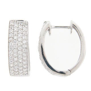 Meredith Leigh Pave Cubic Zirconia Hoop Earrings